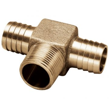 1 in. Male NPT Thread x 1 in. Barbed Brass Hydrant Tee No Lead